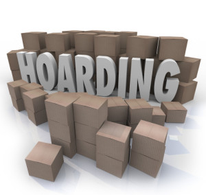 Hoarding Boxes Piled Up Word Collection Mess Trash